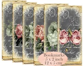 Vintage Rose Bookmarks Instant Download digital collage sheet E179 Vintage Paper Flowers