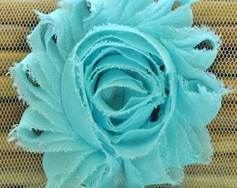 "2.5"" Sky Blue shabby flower trim - frayed chiffon - rose flowers by the yard - CF sky blue"