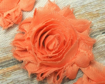 "2.5"" Vintage Pink shabby flower trim - frayed chiffon - rose flowers by the yard - JT vintage pink"