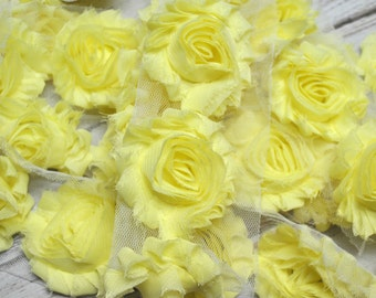 "2.5"" Light Yellow shabby flower trim - frayed chiffon - rose flowers by the yard - JT Pale Yellow"