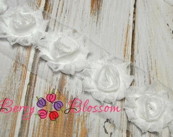"1.5"" White Petite Shabby Flower - baby frayed shabby rose trim - little solid flowers - small shabby"