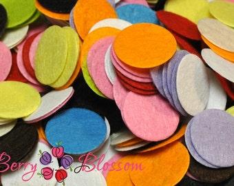 """Felt Circle 1"""" inch - DIY craft felts - bulk felt circles - grab bag felt circle - assorted colors mixed felts"""