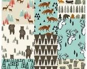 Crib bedding SET, woodlands critters, deer, bear, fox, rabbit, trees, camping, modern, fitted crib sheet, crib skirt, bumper, baby blanket