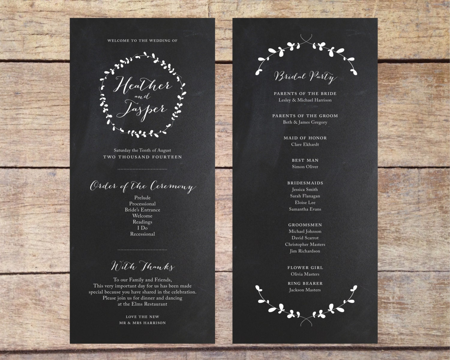 Chalkboard Wedding Program Simple Wedding By PaperRouteCollective
