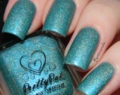 Green Velvet Cupcake by Prettypots Polish - Core Collection - 12ml Handmixed Holographic Aussie Indie Nail Polish Lacquer