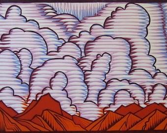 Original, hand pulled, color woodcut,  'Rain Dance'.