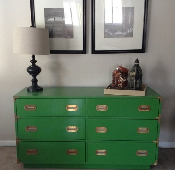 Campaign Dresser Kelly Green 6 Drawer With Brass Hardware