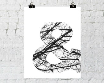 Ampersand Print, Tree Branch Decor, Wall Art Prints, Black and White Wall Art, Instant Download, ADOPTION FUNDRAISER