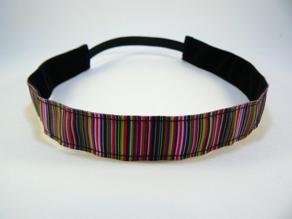 Bold multi colored striped non-slip headband for everyday and active wear