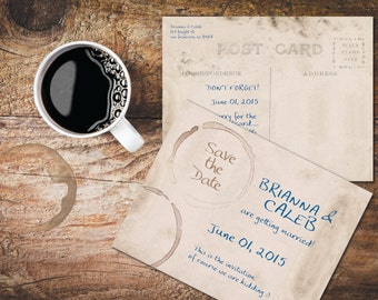 Funny Save The Date PostCards / Vintage Postcards / Coffee Stains Coffee Rings on Dirty Grunge Card / PRINTED Post Cards for Rustic Weddings