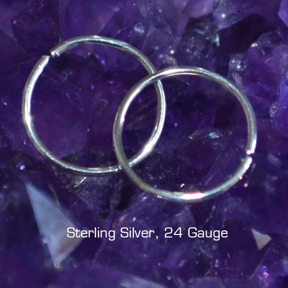 Tragus Earring 24g - Silver Nose Ring - Tragus Hoop - Nose Hoop - Forward Helix Earring - Cartilage Earring - Rook Piercing - Conch Earring
