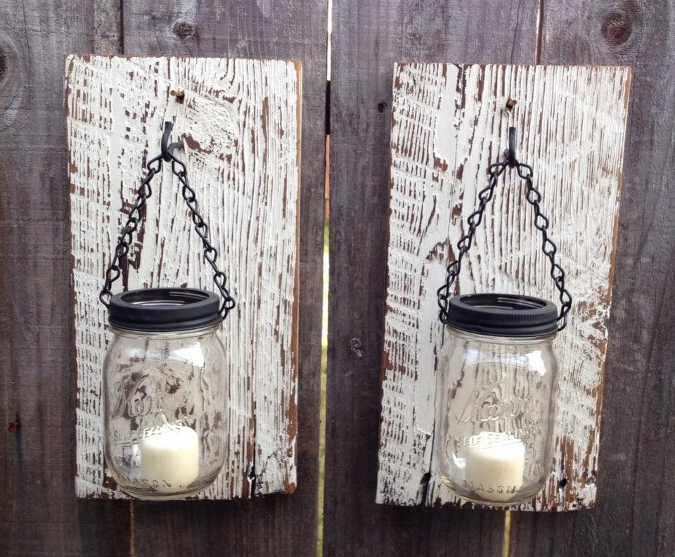Barn wood mason jar wall sconces