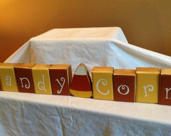 """Happy Halloween """"CANDY CORN"""" wooden block decoration with Candy Corn"""