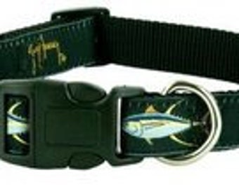 GUY HARVEY BLACK yellow fin tuna dog collar