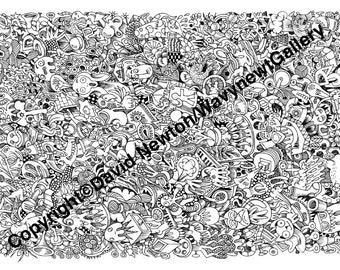 2. Instant PDF Download Hand Drawn Zentangle Inspired 'Mindjunk' Coloring Colouring Page Abstract Zendoodle Black and White Drawing