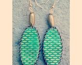 Lime Green unique handmade oval shaped beaded african print dangler earrings