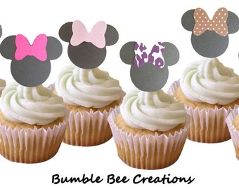 Cupcake Toppers - Set of 12 - Mini Mouse Theme