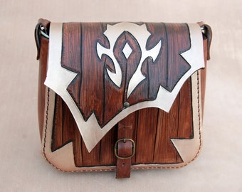 World of Warcraft-Leather bag-FREE Shipping-For The Horde-Leather purse-WOW-Geekery-tooled leather purse-GEEK leather bag