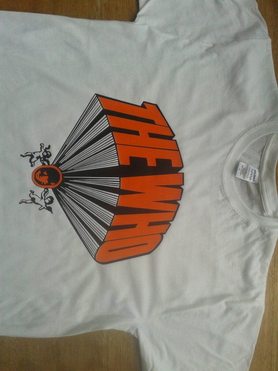 The Who Keith Moon Drum Kit Printed T-shirt Top. Rare Mod 60s