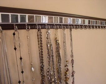 "Jewelry holder .This necklace holder in beautiful brown glass mosaic tile design is 30"" w/ 20 hooks ON BROWN .Necklace organizer storage"