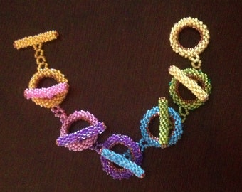 Colorful Toggle Clasp Bracelet; Peyote Stitched in Seed Beads