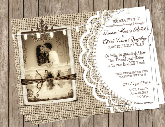 Burlap Wedding Invitations: Burlap And Lace Rustic Wedding Invitation By