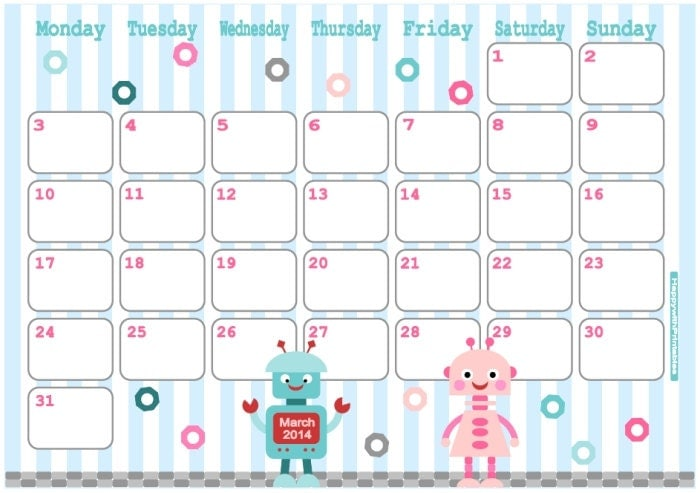 Cute March 2014 Calendar Printable March 2014 Calendar Printable