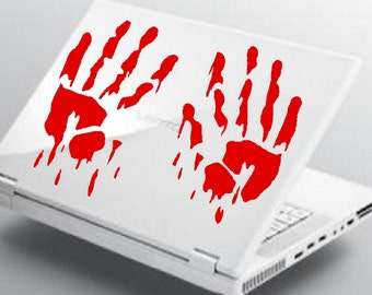 Bloody Handprints Decal sticker wall art car graphics room decor twighlight blood emo goth gothic metal AA48