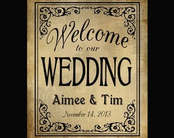 Personalized Welcome to our Wedding Printable File with Bride & Groom Names and wedding date - DIY - Black Tie Collection
