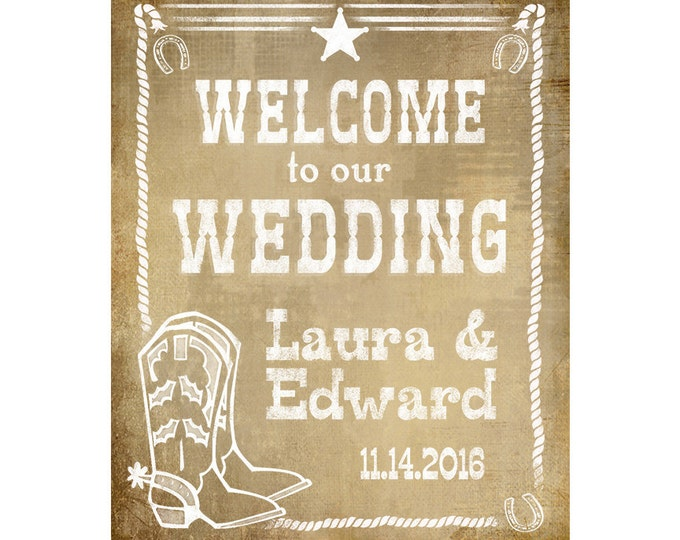 Personalized Western Welcome to our Wedding Printable File with Bride & Groom Names and wedding date - DIY - Western Vintage Collection