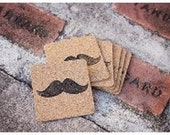 Mustache Cork Coaster Set