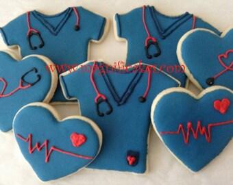 Nurse/doctor/medical decorated cookies