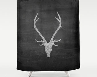 Captivating Shower Curtain, Rustic Home Decor, Deer Antler Decor, Boys Shower Curtain,  Mens
