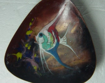 midcentury enamelled bowl abstract fish
