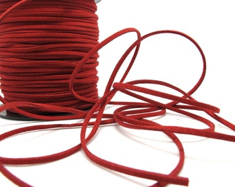 5 Yards 2mm Faux Suede Leather Cord|Bright Red|Faux Leather String Jewelry Findings|Microfiber Craft Supplies