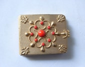 Tobacco, Vintage Gold Matchbox Holder circa: 1960's with Red Enamel stones (tobacciana)