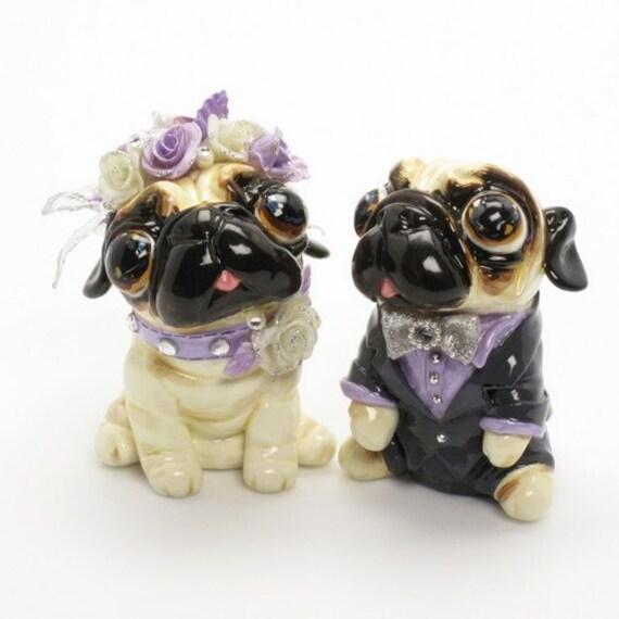 Mops liebhaber lila hochzeitstorte topper braut von doggymate for Mops dekoration