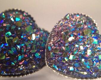 Gray Rainbow Aurora Dazzle Reflects Stud Post Earrings