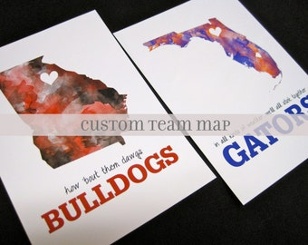 Custom Watercolor Map Print 5x7 or 8x10--Team Spirit Map Print--Sports Team Map