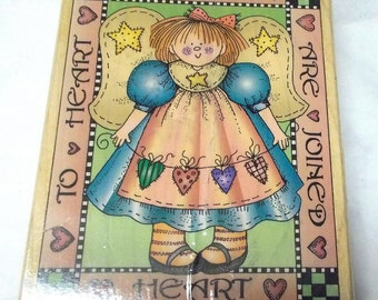 Hero Arts Girl angel Rubber stamp S1272 Friends are joined mounted
