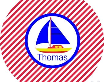 Personalized sailboat boys monogrammed plate.   A custom, fun and UNIQUE birthday gift idea! Kids love eating on personalized plates!