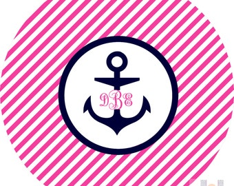 Monogrammed girls pink and navy anchor dinner plate! Perfect for birthdays! A custom, fun and UNIQUE gift idea!