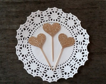 Champagne Gold Glitter Heart Cupcake Toppers, Cake Decor, Cupcake Decor, Wedding Decor, Baby Shower Decor, Party Decor, Set of 20
