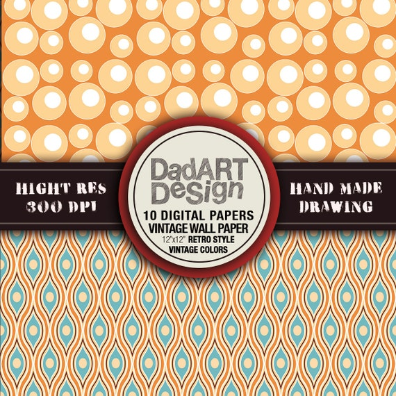 Vintage wall paper retro style digital papers by DADARTDESIGN
