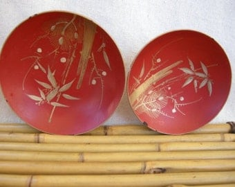 Vintage Handpainted Japanese Laquer Bowls