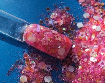 Nail Art Acrylic Gel Glitter Mix    a SUMMER to REMEMBER  pink and orange beauliful mix