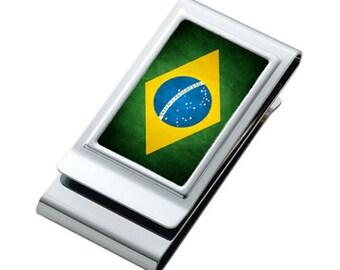 Brasilianische flagge *** edelstahl double sided geld-clip *** id