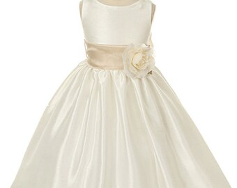 Ivory Poly-Dupioni dress with detachable sash
