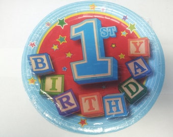 1st birthday plates - boy