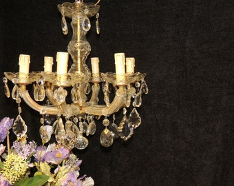 Antique French Chandelier, 6 Candlestick, Beautiful Vintage Crystals